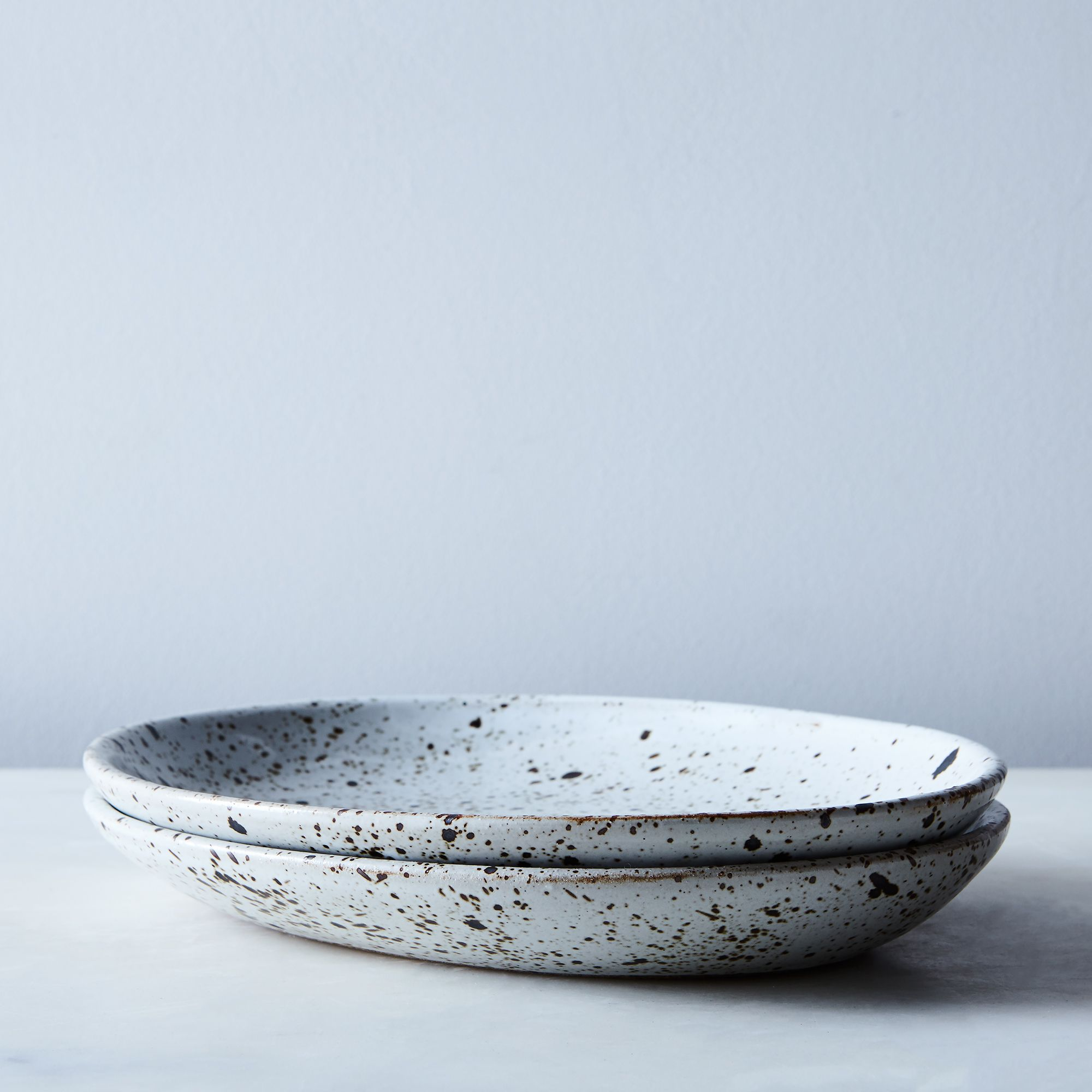 Handmade Ceramic Dinnerware (set Of 2) Speckled, Oval Dinner Plate