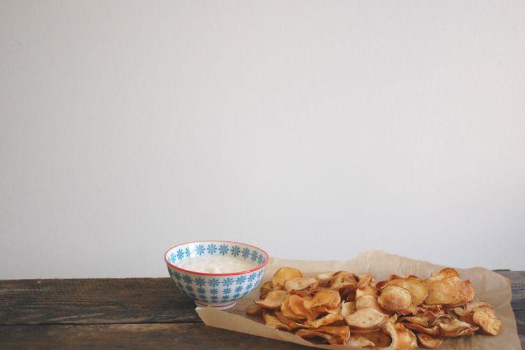 baked potato chips + dip