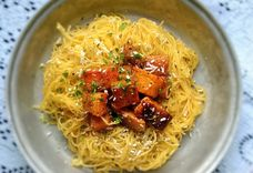 Mithzithra browned butter pasta with cinnamon roasted squash