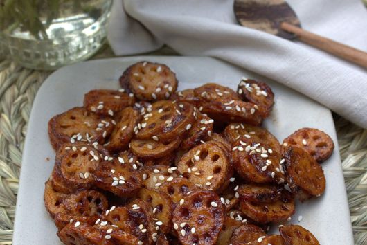 Lotus stem with honey and chilli