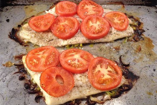 Lemon Sole Roasted with Leeks and Tomatoes