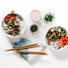 Black Sesame-Crusted Tofu Bowl with Quick-Pickled Veggies & Cilantro Tahini