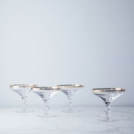 Gold-Detailed Dessert Coupes (Set of 4)