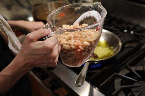 You add the white beans (we used drained and rinsed beans from a can ...