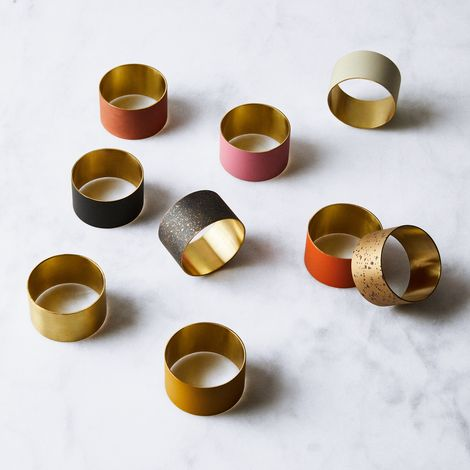 Hand-Painted Brass Napkin Rings (Set of 4)