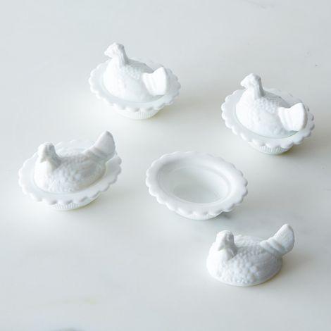 Mini Milk White Glass Hens (Set of 4)