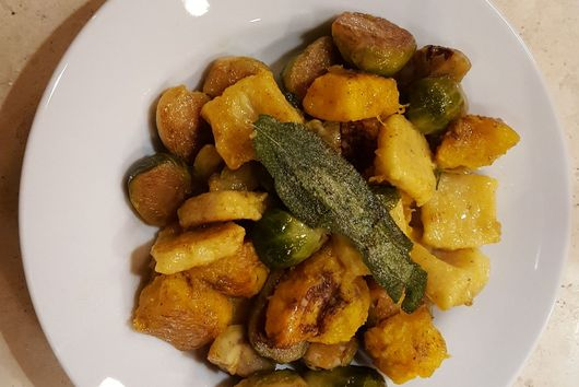 Pumpkin Ricotta Gnocchi with Brussel Sprouts, Roasted Pumpkin, and Chestnuts
