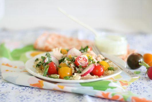 Quinoa, cherry tomato, tuna and feta salad