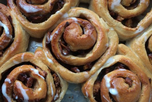 Apple Cinnamon Chelsea Buns with Brandy (or Cider) Drizzled Icing