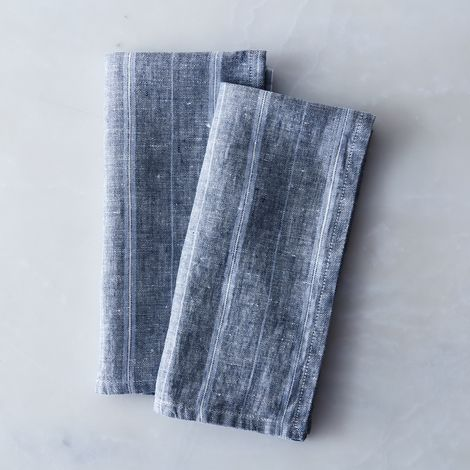 Striped Blue Linen Napkins (Set of 2)