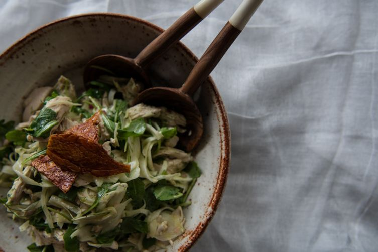 Shaved Fennel And Chicken Salad With Mustard Vinaigrette And Crispy