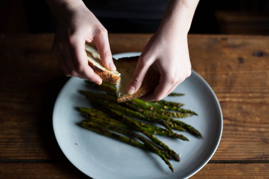 Asparagus with Chopped Egg and Torn Bread