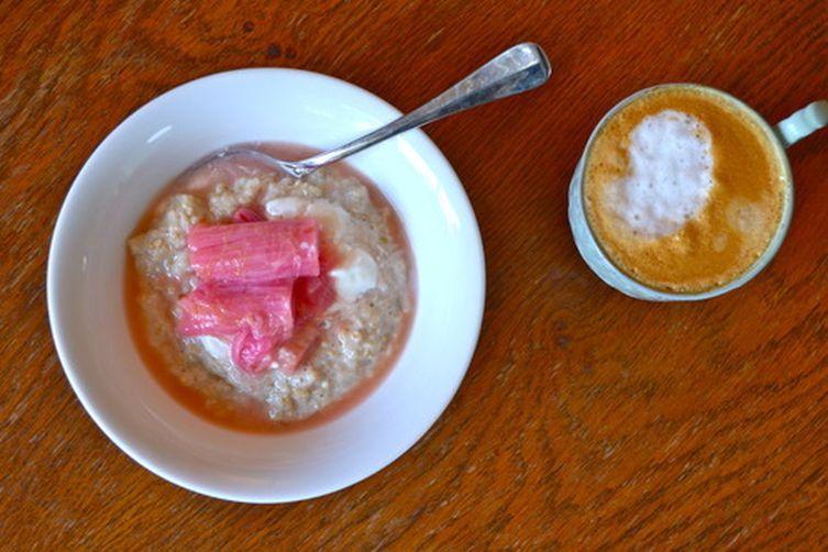 Breakfast Oats with Roasted Spiced Rhubarb and Greek Yoghurt