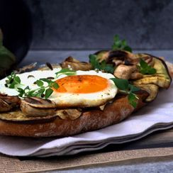 Aubergine, mushrooms and egg bruschetta