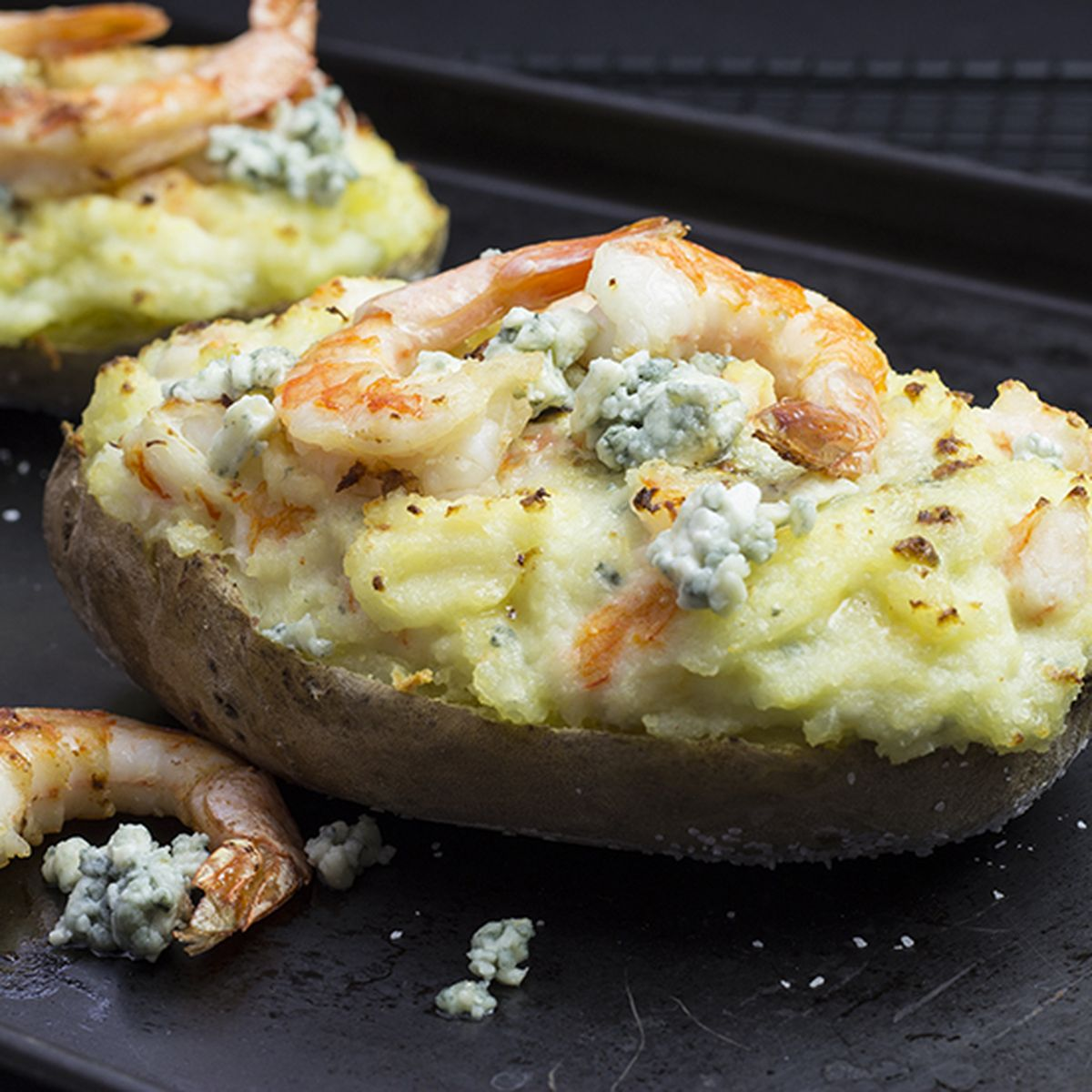 Twice Baked Potato Stuffed With Shrimp And Blue Cheese Recipe On Food52