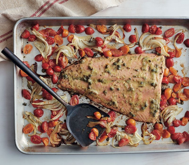 Roasted salmon with tomatoes and fennel comes together in 35 minutes and uses just one pan.