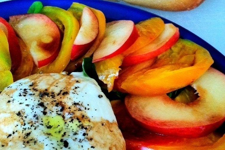 Burrata with White Peaches, Heirloom Tomatoes and Arugula