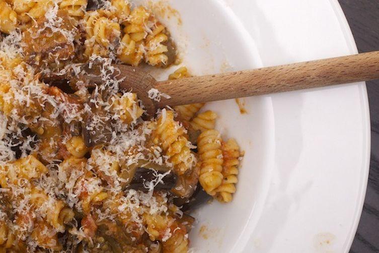 Eggplant, Mushroom, and Gorgonzola Cheese Pasta
