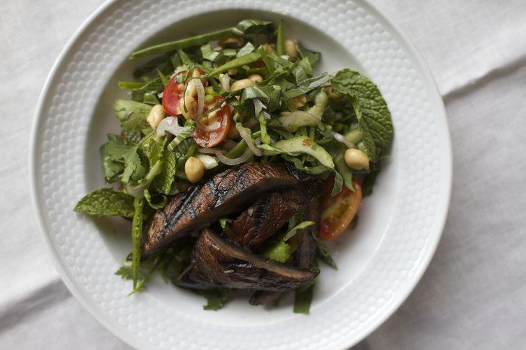 Thai Portobello Salad with Herbs and Snow Peas