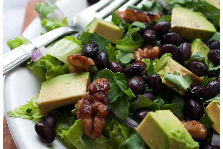 Salad with Black Beans & Tamari Walnuts