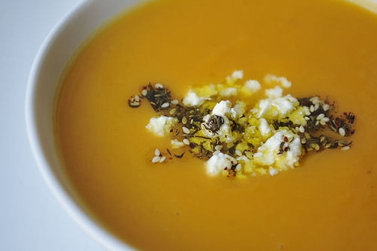 Sweet Potato Soup with Feta and Za'atar Oil