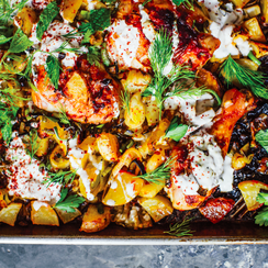 Harissa Chicken with Leeks, Potatoes, and Yogurt