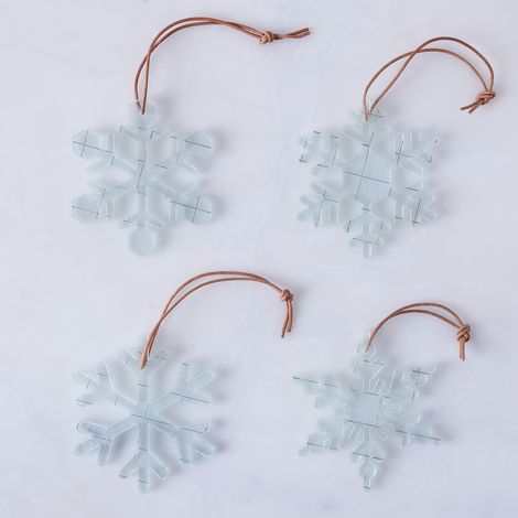 Glass Snowflake Ornaments (Set of 4)