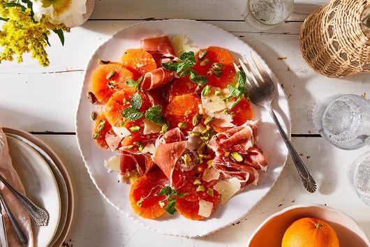 Dressed-Up Cara Cara Oranges With Prosciutto & Pistachios