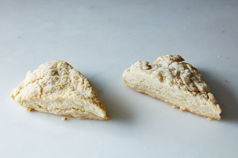 Bakewell Cream (left) versus baking powder (right).