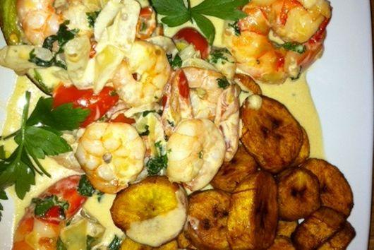 DVs creamy avocado prawns & plantain delight
