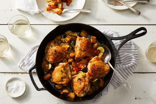 One-Pan Crispy Chicken Thighs With Roasted Potatoes, Zucchini & Tomatoes