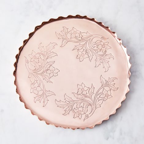Vintage Copper French Floral Tray, Late 19th Century