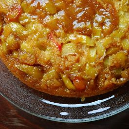 Rhubarb Ginger Downside-Up Oatmeal Cake