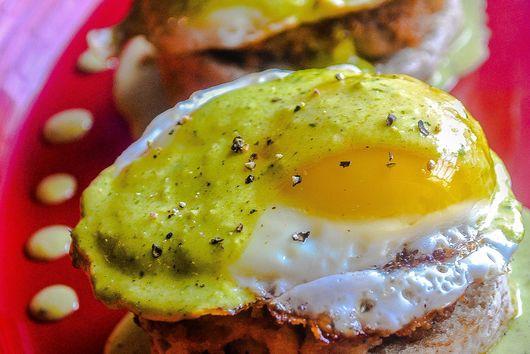 Panko Crusted Bean & Chorizo Patty, Poached Eggs, Poblano Hollaindaise