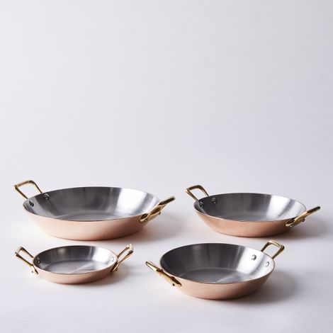 de Buyer French Copper Round Gratin with Brass Handles
