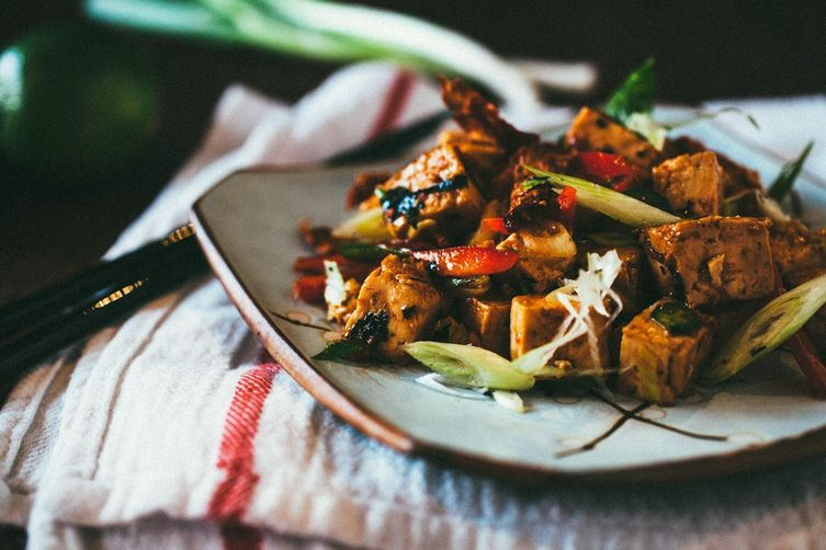 Korean Chili Tofu Salad with Kimchi Chips