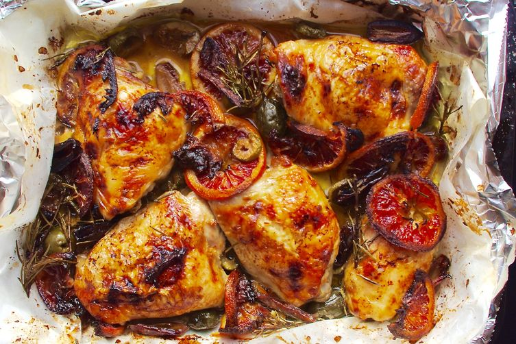 Baked Chicken with Blood Oranges, Dates, Caperberries and Olives