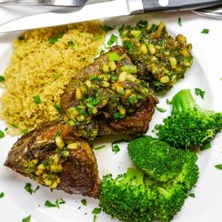 Moroccan Spiced Lamb Chops with Date, Pine Nut and Mint Chutney