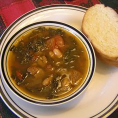 Hearty Spicy Kale and Pork Soup with White Beans