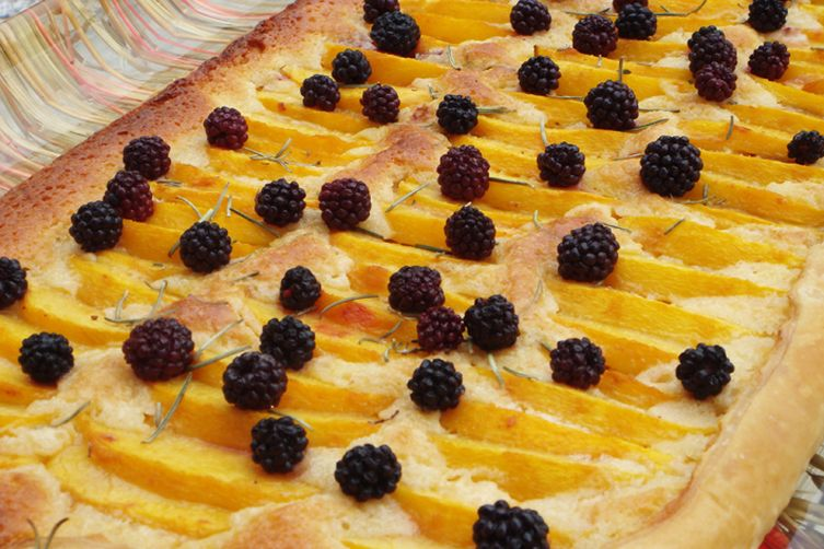 Sweet Summer Peach, Almond and Rosemary Honey Tart