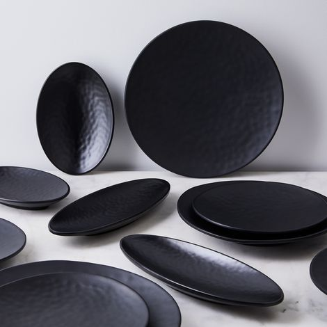 Melamine Cobbled Charcoal Plates (Set of 6)