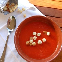Smoky roasted tomato and red pepper soup