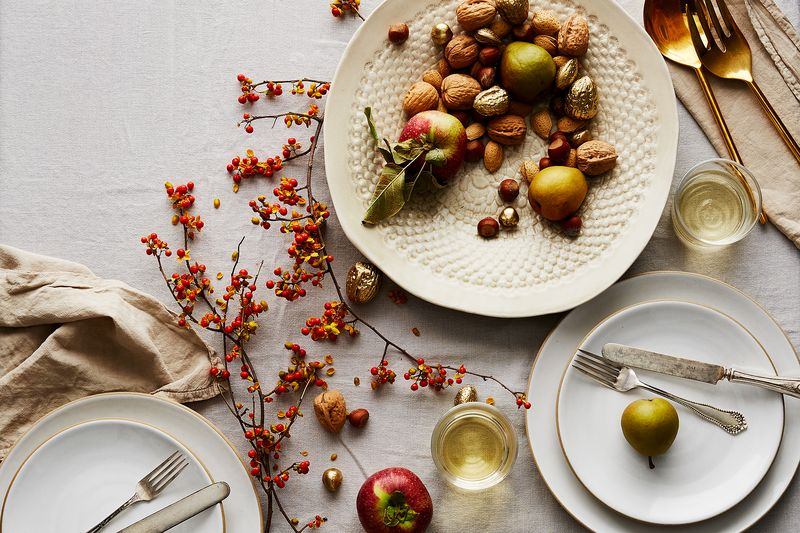 When all the right pieces come together, they make a glamorous, cozy, nature-loving table.