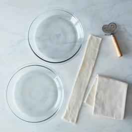 Glass Pie Plates, Pastry Cutter and Pastry Cloth with Rolling Pin Cover