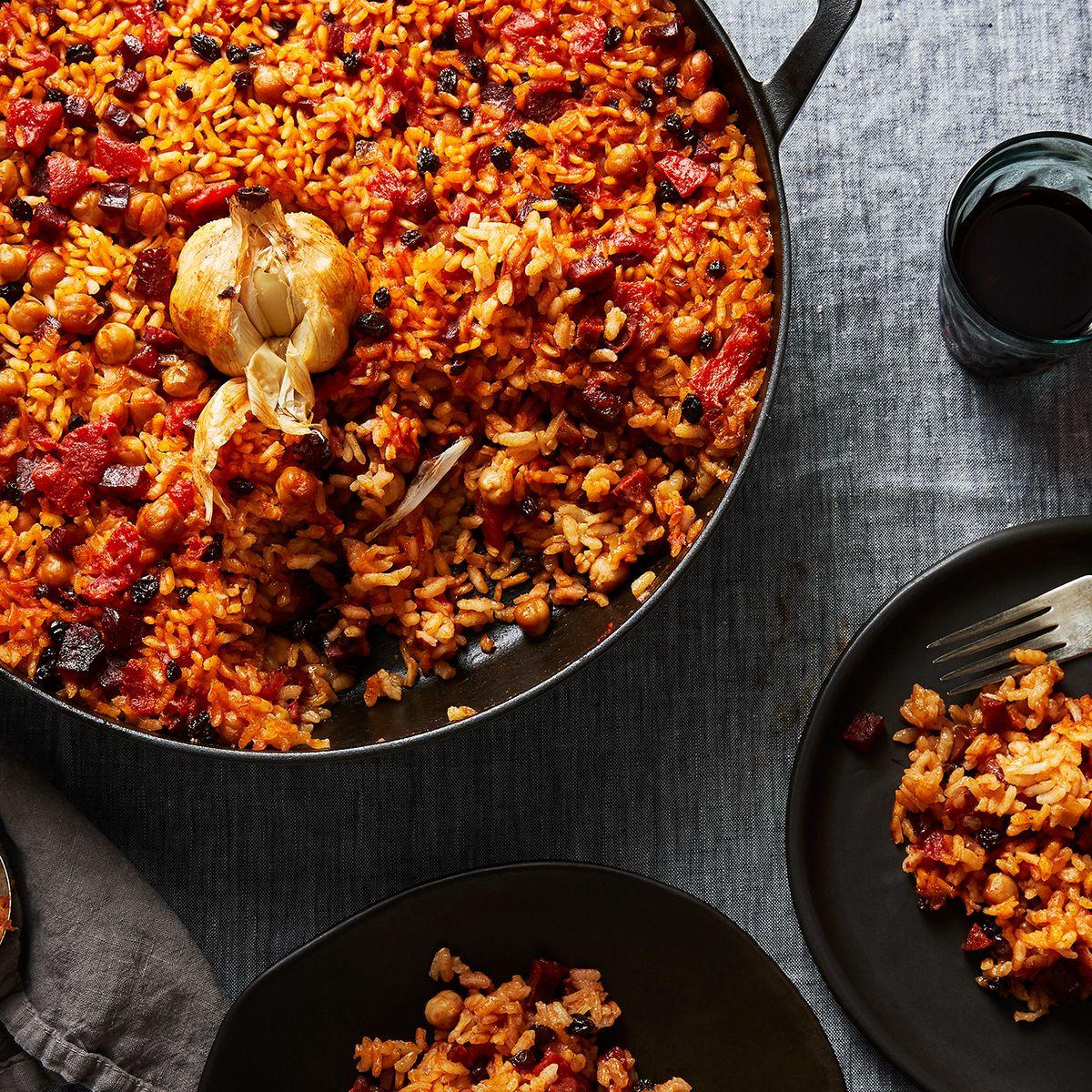 Spanish Baked Rice with Chorizo and