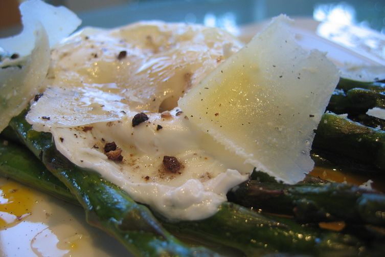 Roasted Asparagus w/ Alder Wood Smoked Salt, Poached Egg & Pecorino