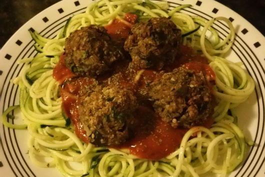 Zucchini Pasta with Eggplant Meatballs