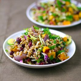 Farro Salad with Butternut Squash, Caramelized Onions, & Brown Butter Sage Sauce