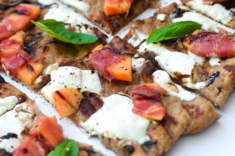 Cantaloupe, Prosciutto, and Burrata Grilled Pizza