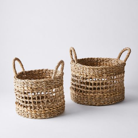 Handwoven Open Weave Storage Baskets (Set of 2)